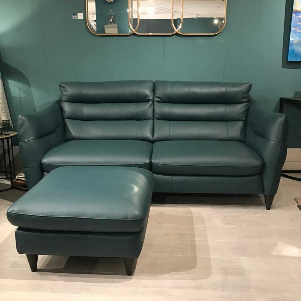 Firenze leather pouffe with matching sofa