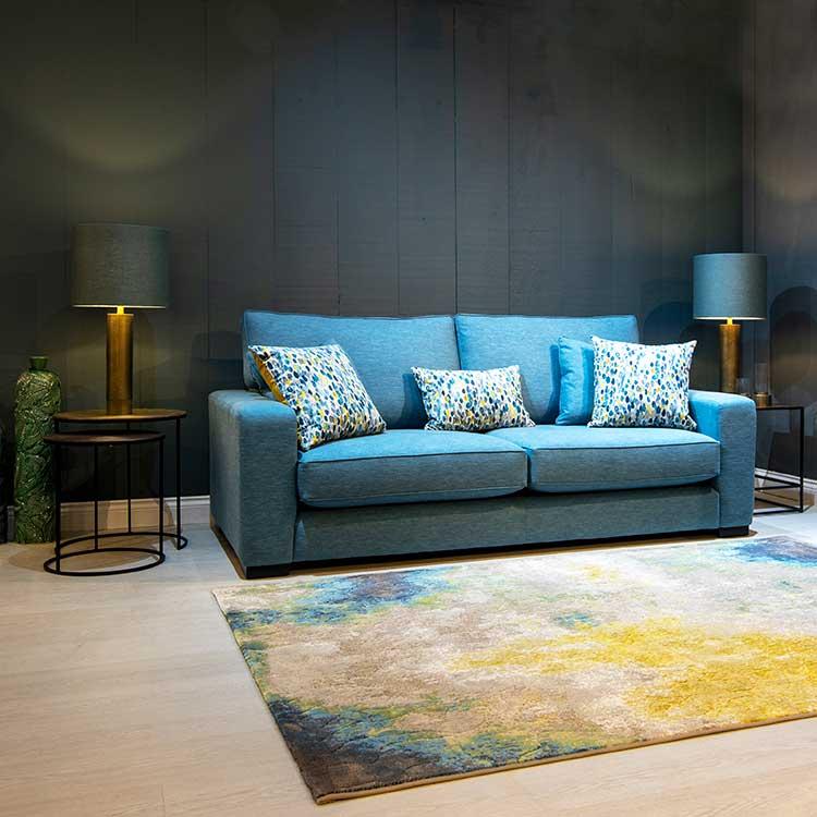 Handmade blue 2 seat made to measure sofa by New England Home Interiors