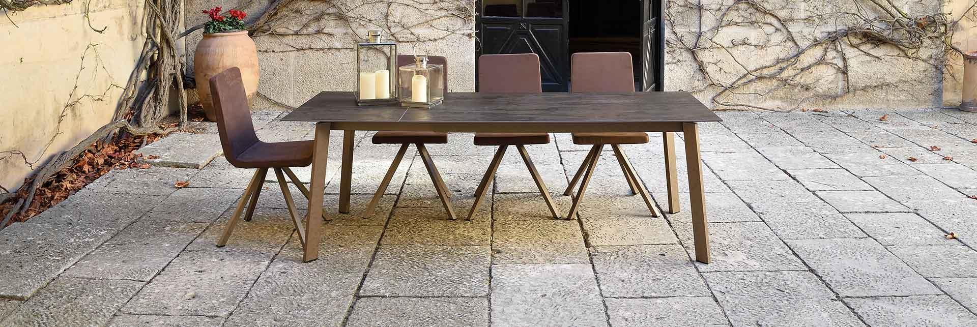 Ambient designer dining table with ceramic Dekton top