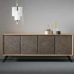 Venice Solid Wood Sideboard With Metal Bracket Legs
