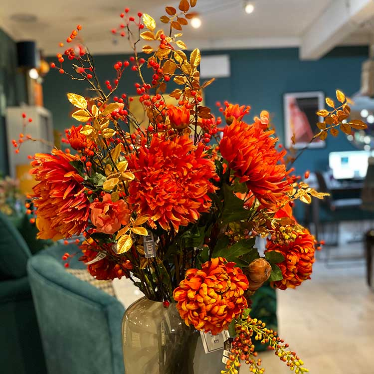 Red faux flower display